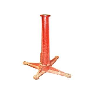 Vintage Industrial Red Cast Iron Pedestal Base