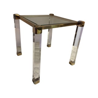 Lucite & Brass Occasional Table