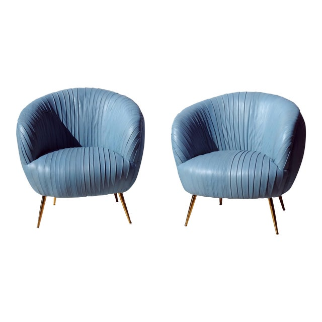 Italian Leather Lounge Chairs - A Pair - Image 1 of 7