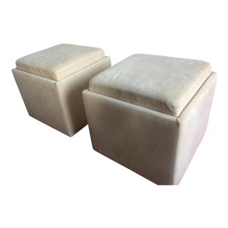 American Leather Uno Ottomans - A Pair