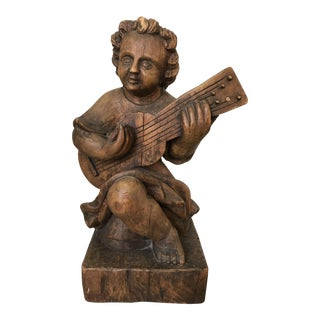 Handcarved Spanish Statue of Girl Playing Strings