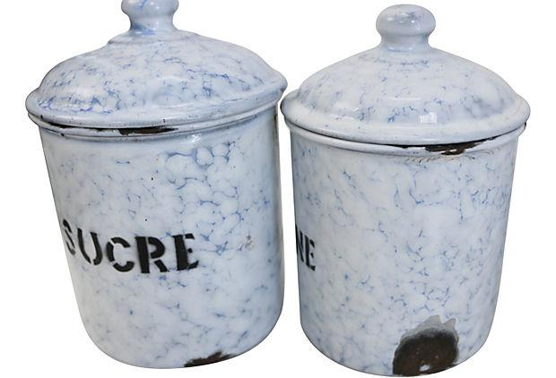 vintage enamel kitchen canisters s 6 chairish