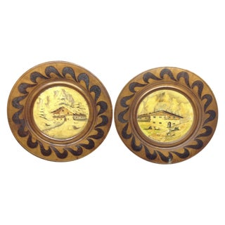 Mid Century Hand Made Wood Chargers - Two