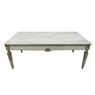 French Marble Top Coffee Table in Louis XIV Style
