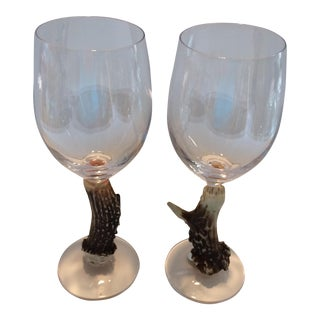 Big Sky Carvers Deer Antler Stem Wine Glasses - A Pair