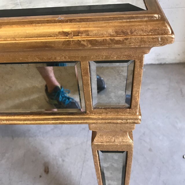 Antiqued Mirrored Dining Table With Gold Leaf Trim - Image 6 of 10