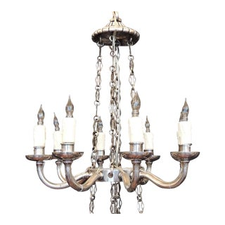 Early 19th C Italian Neoclassical Silver Plated Bronze Two-Tiered Chandelier