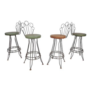 Vintage Modern Italian Wrought Iron Bar Stools - Set of 4