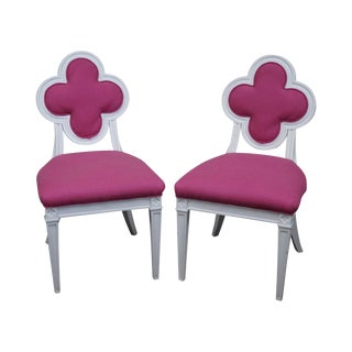 Custom Pink Clover Back Side Chairs - A Pair