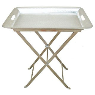 Silver Hammered Tray Table With Removable Tray