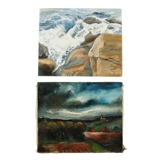 Nautical Landscape Gallery Wall Art Paintings - a Pair