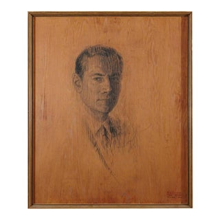 Raul Manteola, Portrait of a Gentleman, New York, 1964, Rare Pencil on Wood
