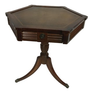 Hexagonal Pedestal Drum Table