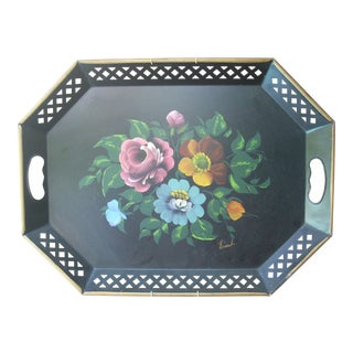 Vintage Hand Painted Octagonal Tole Tray