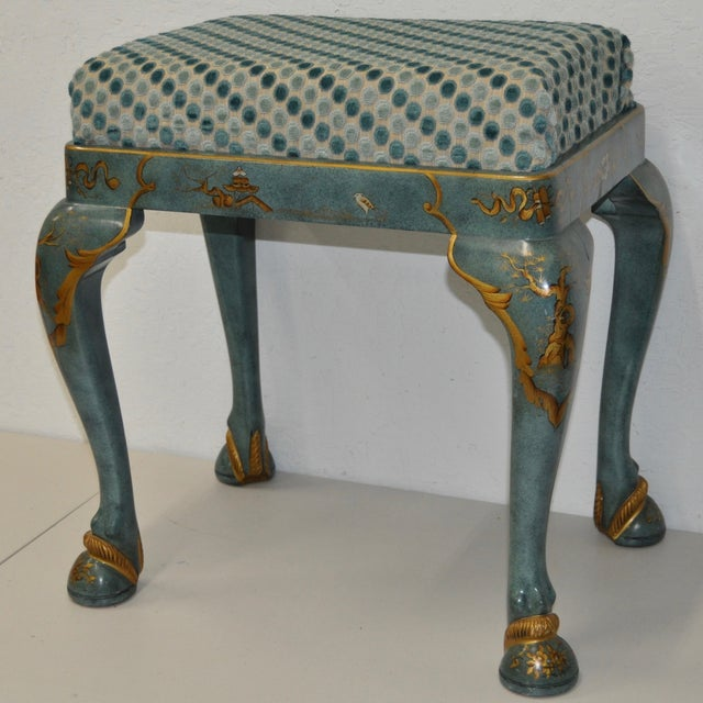 1960s Baker Furniture Upholstered Chinoiserie Seat - Image 3 of 8