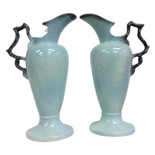 Hull Pottery Blue Speckled Pitcher Vases - A Pair
