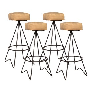 Mid-Century Hairpin Leg Bar Stools - Set of 4