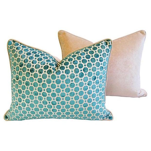 Turquoise Velvet Geometric Pillows- A Pair - Image 6 of 7