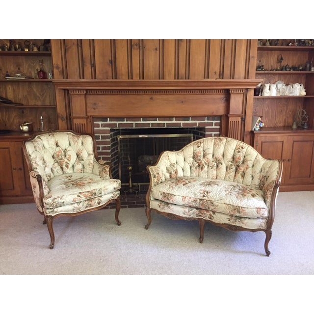 French Country Louis XV Style Carved Walnut Silk Settee & Chair - A Pair - Image 2 of 11