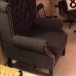 Image of Charcoal Tweed Wingback Chair