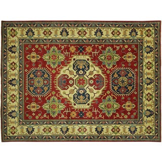 "Oriental Kazak Red and Ivory Rug - 8' 4"" x 11' 1"""