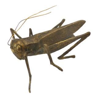 Mid-Century Gold Tone Grasshopper Figurine