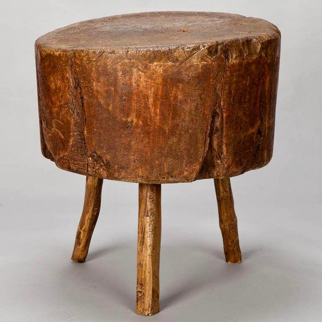 19th Century Primitive Round Butcher Block Table - Image 4 of 8