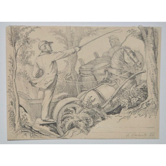 Karl Ludwig Adolf Ehrhardt Original Drawing c.1872 - Image 2 of 4
