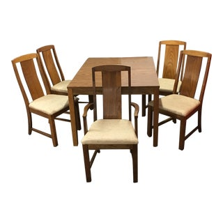 Mid-Century Laminate Table & Upholstered Oak Chairs - Set of 6