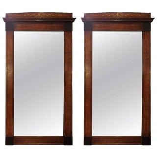 19th Century Mahogany Inlaid Pier Mirrors- A Pair