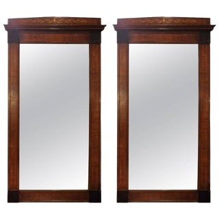 19th Century Mahogany Inlaid Pier Mirrors- A Pair