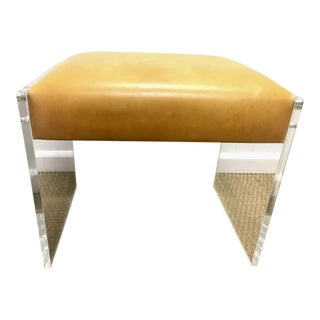 Distressed Leather & Lucite Ottoman
