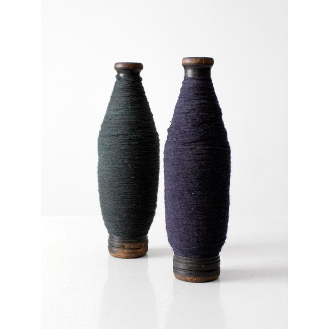 Antique Wooden Spools With Navy Thread - a Pair - Image 7 of 7