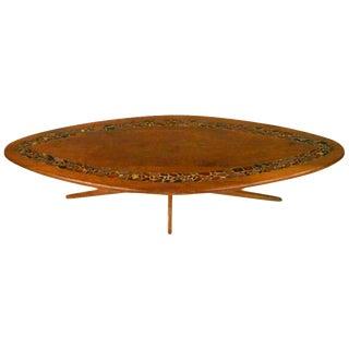 Mid-Century Tile Inlaid Walnut Coffee Table