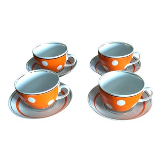 Orange Polka Dot Tea Cups - Set of 4