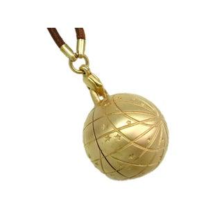 Hermes Palladium & Leather Zodiac Necklace