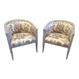 Toile Upholstered Gray Painted Tub Chairs- A Pair