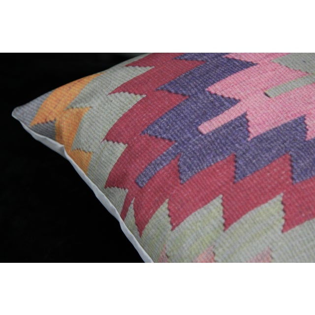 Diamond Pattern Kilim Inspired Print Pillow - 18'' - Image 8 of 8