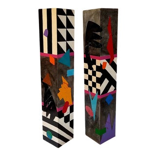 Memphis Style Hand-Painted Small Columns / Pillars - a Pair