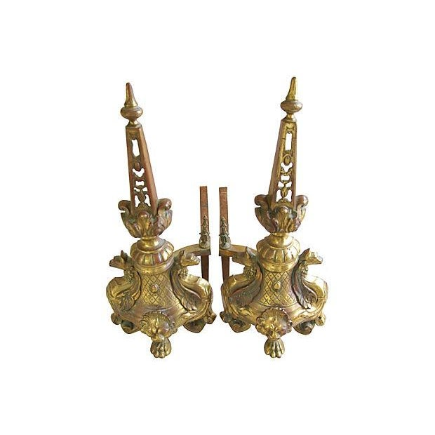 Image of Antique Ornate French Brass Andirons - A Pair