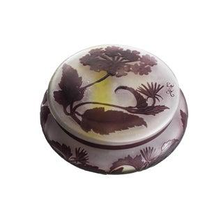 Emile Galle Cameo Art Glass Amethyst Powder Jar