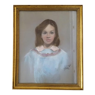Vintage Portrait of Young Girl in Blue Dress Framed and Signed