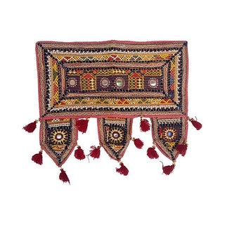 Antique Indian Embroidered Mirrored Valance