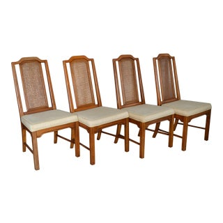 Vintage Dixie Chinoiserie Solid Wood Dining Chairs - Set of 4