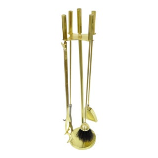 Vintage Mid-Century Modern Modernist English Solid Brass Fireplace Tool Set