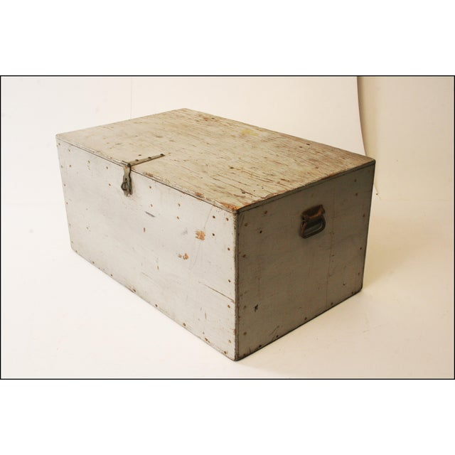 Vintage Industrial Wood Gray Military Storage Chest - Image 7 of 11