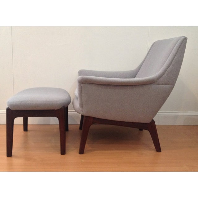Danish Modern Upholstered Lounge Chair & Ottoman - Image 8 of 11