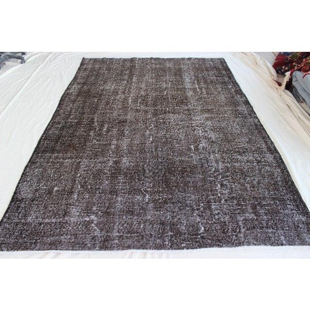 Vintage Black-Gray Turkish Overydyed Rug - Image 2 of 8