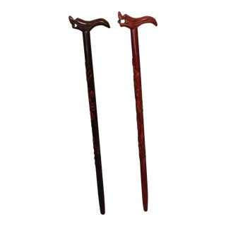 Vintage Dragon Wooden Walking Canes - A Pair