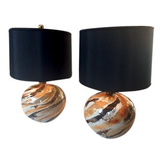 Vintage Marbled Ceramic Table Lamps - A Pair